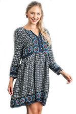 Umgee V-Neck BoHo Print Long Sleeve Peasant Dress