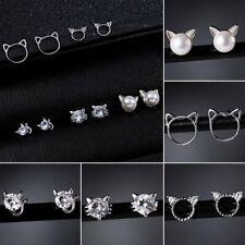 Women Cat Zircon Pearl Animal Earrings Rhinestone Women Hollow Ear Stud Wedding
