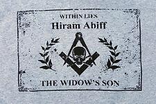 Masonic T Shirt TEE Gray Freemason Hiram Skull Bones Square Compass Within Mason