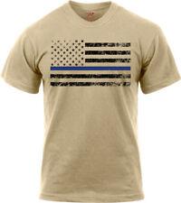 Desert Sand Thin Blue Line Distressed American Flag With Black Stripes T-Shirt