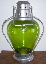 Green Glass Lantern Candle Votive Holder - New
