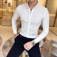 British Stylish Mens Solid Shirt SLim Fit Stretch Casula Korean Long Sleeve