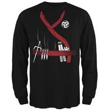 Halloween Red Clan Ninja Assassin Costume Mens Long Sleeve T Shirt