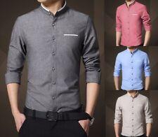Da Uomo Oriental Collo Alla Coreana Slim Fit Camicia Casual Camicie Top S M L XL ps14