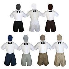 4pc Boy Toddler Formal Black Bow Tie Hat  White Brown Navy Gray Dark Khaki S-4T