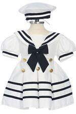 Infant, Toddler Girls Sailor Dress, White/ Navy Blue,Sz: S, M, L, XL, 2T, 3T, 4T