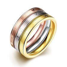 Classic 316L Titanium Steel 3 Tone 3 Ring Sets CZ Woman ring Size7, 8 R-A315