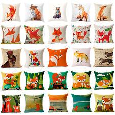 Cute Fox Printed Cotton Linen Pillow Case Cushion Cover Fashion Home Decor 18x18
