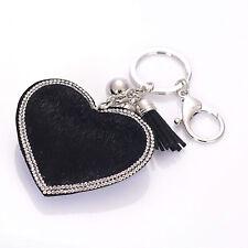 Pave Crystal Heart With Fur Rhinestone Handbag Charm Pendant Keychain Bag Keyrin