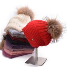 Womens Winter Angora Knit Beanie Hat Stylish Skull Fleece Pom Pom  Ski Cap A462
