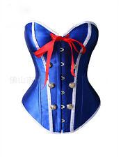 Sexy Burlesque Costume Corset Basque Cincher Lingerie Bustier Top Blue Overbust