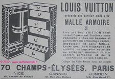 PUBLICITE LOUIS VUITTON MALLE ARMOIRE NICE CANNES LONDON DE 1926 FRENCH AD PUB
