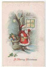 Santa Pipe Lamp Gift Bag Window Merry Christmas 1910c postcard