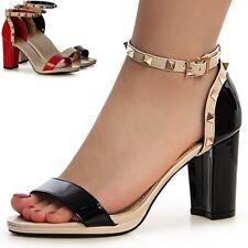 Damen Block Sandaletten Sandalen Pumps High Heels Nieten Riemchen Plateau Party