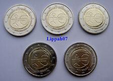 Duitsland 2 euro 10 jaar EMU 2009 A-D-F-G-J UNC