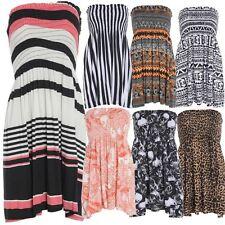 Women Ladies Printed Sheering Gather Bandeau BoobTube Top Dress Plus Size 8-22