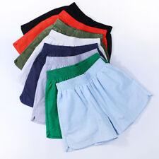 Women Shorts Elastic Waist Cotton Linen Beach Summer Hot Pants Casual