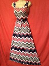 maxi CHEVRON SUMMER KNIT DRESS stripe ROCKABILLY pink WHITE 1X 2X 3X