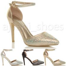 Para Mujer Damas Tacón Alto puesto de correa de tobillo Diamante Zapatos Tenis Sandalias Tamaño