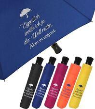 """Regenschirm Mini Taschenschirm Automatik lustig bedruckt """"Eigentlich wollte ich"""""""