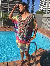 Embellished Kaftans, V- Kaftan Fits Size12-14-16-18-20-22 Plus size, Silk crepe