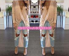 New Women Autumn V Neck Draped Front Twist Flowy Wrap Bandage Tops Maxi Dress