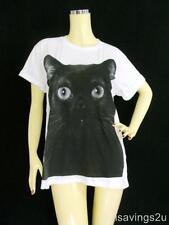 BLACK CAT T-shirt, Kitty KITTEN Art POP, White COTTON S M L Choose Size Pop Rock