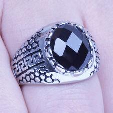 Men's Vintage Silver Stainless Steel Black CZ Harley Biker Ring Size 8-12 SR135
