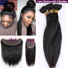 7A REMY Virgin Human Hair Unprocessed Brazilian 3 Bundles with Lace Closure B985