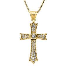 14k Oro Amarillo 0.50ct Ct Diamante Collar con Cruz