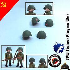 2x CASCO RUSO SOVIETICO RUSIAN SOVIET HELMET WW2 GUERRA MUNDIAL PLAYMOBIL SOLDAD