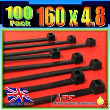 160mm x 4.8mm Black Nylon Cable Ties 100 Tie Zip Wraps