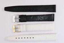 FORTIS Uhrenarmband 14mm Schwarz Weiß Kalbsleder mit Strauß-Narbung