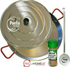 50cm PAELLA PAN SET - PROFESSIONAL POLISHED STEEL & SPOON & LID + PAELLA GIFT