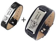 ID Leder Partnerarmbänder mit Edelstahlplatte mit Gravur nach Wunsch zwei Farben