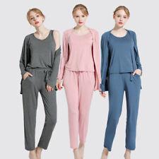 Modal Schlafanzug Set Damen Weich Unterwäsche Nachtwäsche Dreiteiliges