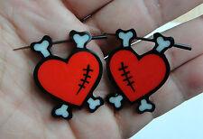 Pair Organic Hand Carved Black Horn Bone Red Heart Stirrup Hanger Earring