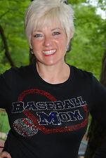 Baseball Mom. Custom rhinestone bling shirt XS S M L XL 2X 3X 4X 5X Heart.