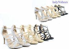 New Women's Sexy Bridal Open Toe Glitter  Zipper Strappy High Heel  Size 5 -10