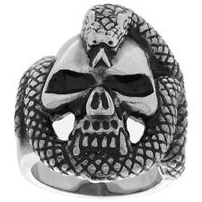 Stainless Steel Gothic Biker Ring Vampire Skull Rapped with Snake