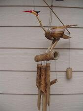 Large Fireburnt Bobbing Head Bird with Swirl Tubes Bamboo Wind Chimes FREE SHIP