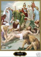 SANTINO HOLY CARD TELA CANVAS VIA CRUCIS STAZIONE 11