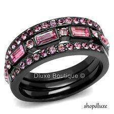 WOMEN'S PINK ROSE CZ BLACK STAINLESS STEEL 3 PIECE WEDDING RING SET SIZE 5-10