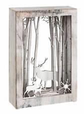 Weihnachtsszene Rentier LED Weihnachten Bild Deko Geschenk Holz