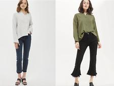 Ex Topshop Oversized Deep Back Hem Gauzy Crinkle Cotton Shirt Khaki and Grey (F4