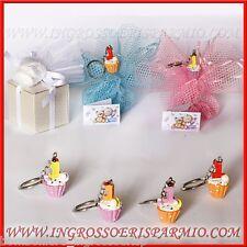 Bomboniere Portachiavi Numero Uno 1° Compleanno Cupcake Bimbi Pensierini Stock