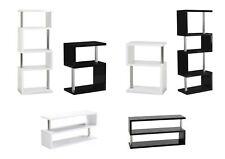 "Charisma ""S"" Shape Shelves & TV Units - Black or White - High Gloss & Chrome"