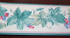 Ivy & Berries - Green Leaves, Red, Blueberries Fruit Wallpaper Border  W1250