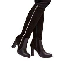 Wallis Black Suede Effect High Leg Boot with Mock Croc Trim & Side Zip Orig pric