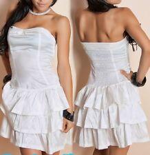 SeXy Miss Damen Bandeau Volant Mini Kleid S/M 34/36 M/L 36/38 glanz weiß NEU